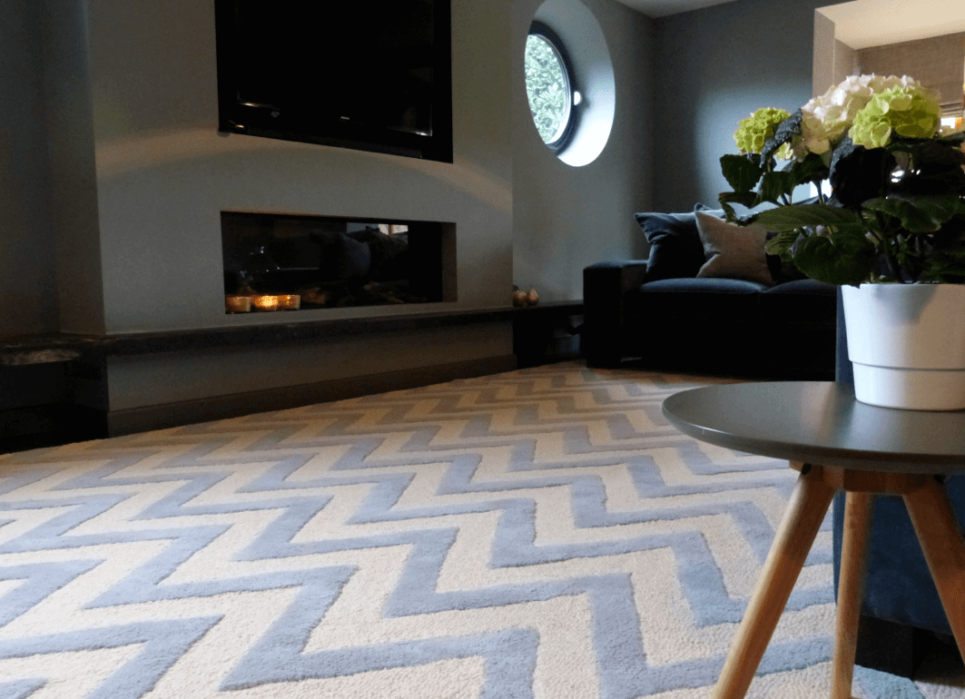 Grey and cream chevron rug