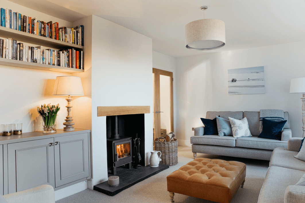 Contemporary country sitting room with log burner