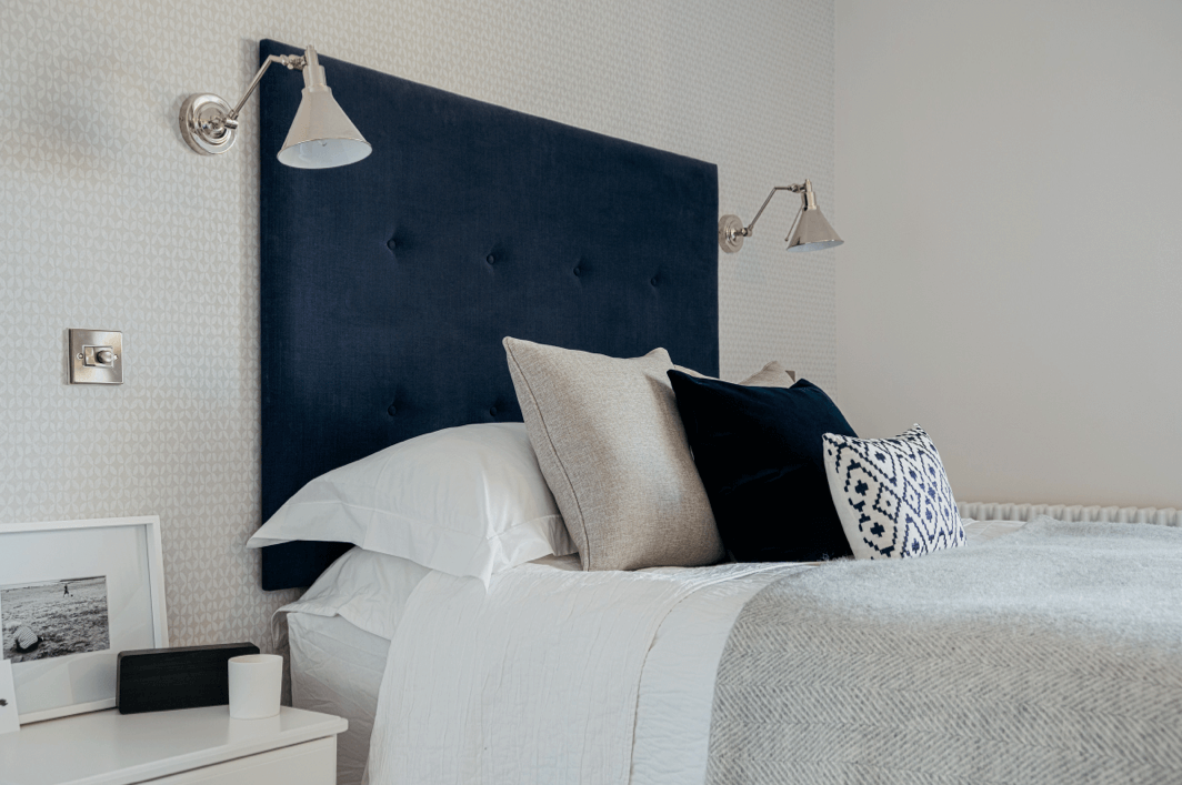 Bespoke Headboard in navy blue linen