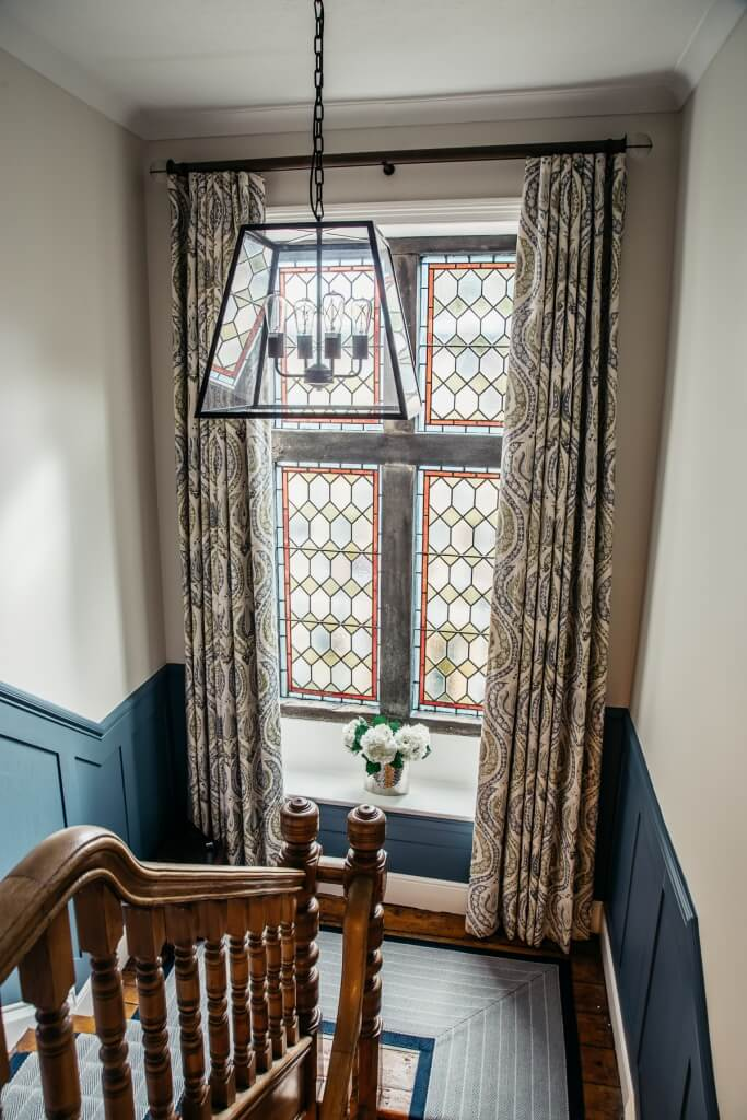 Tudor House, Hallway, After with stained glass window