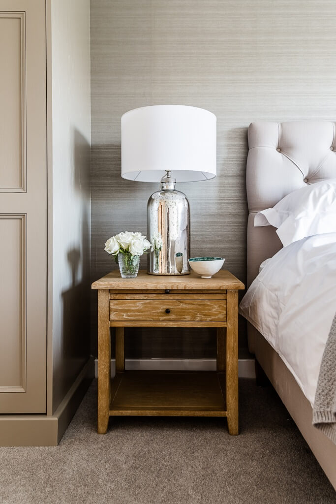 Detail of bedside table, luxury master bedroom