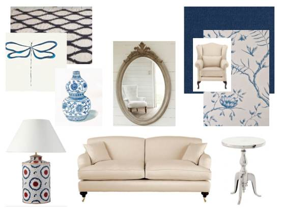 Blue & White Living Room Scheme