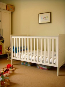 Neutral nursery with bright accents and lovely detailing