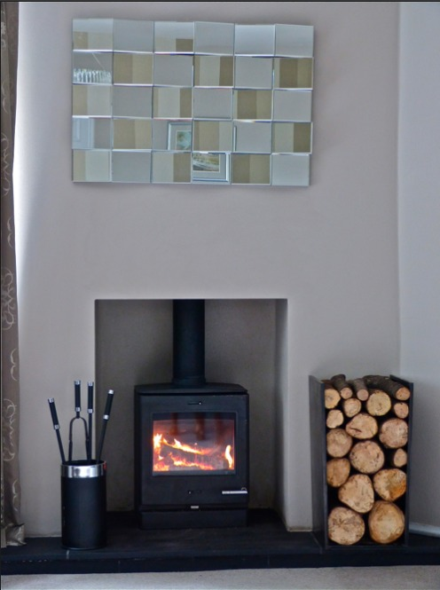 The room after, with contemporary fireplace