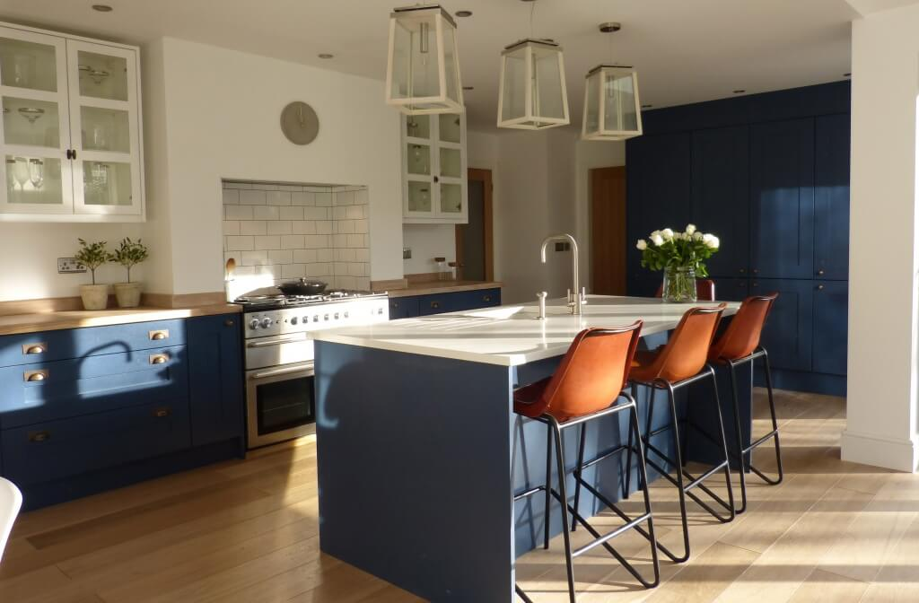 Blue & White Kitchen, contemporary country with vintage leather bar stools, over sized pendant lights