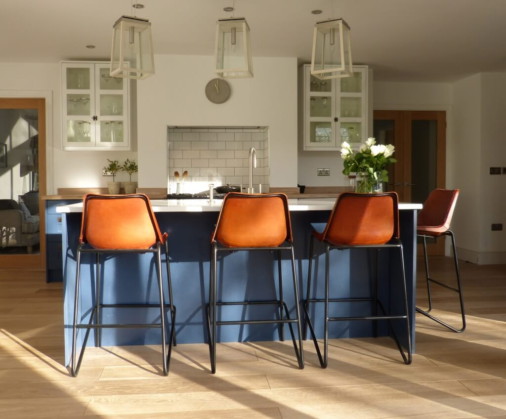 Blue & White contemporary country kitchen with vintage leather bar stools