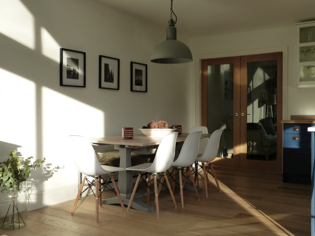 Scandi style kitchen with Vintage Industrial light, Eames Style chairs, Neptune table