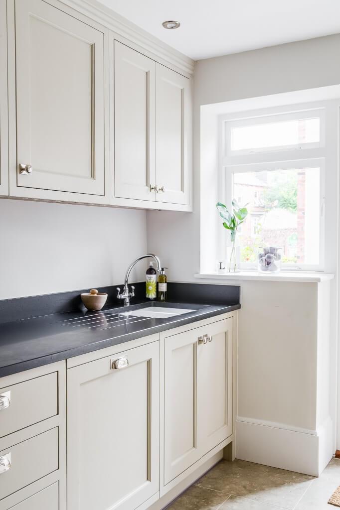 Bespoke kitchen, in Little Greene Portland Stone, with honed granite work surface