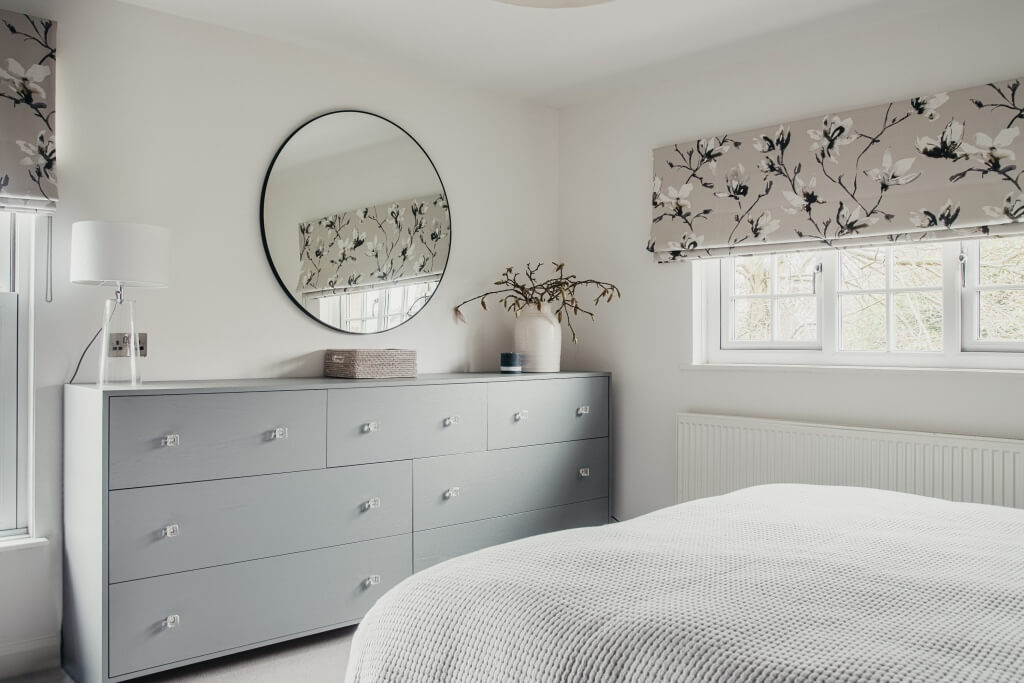 Contemporary bedroom with The White Company Chiltern Thin Metal Round Mirror