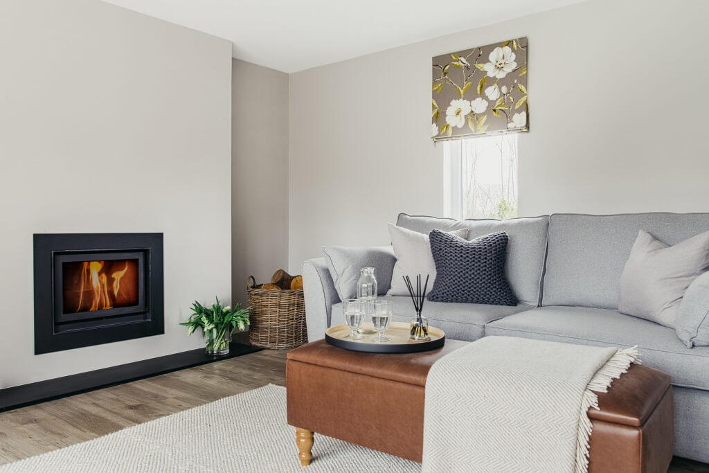 Contemporary sitting room with grey wool sofa